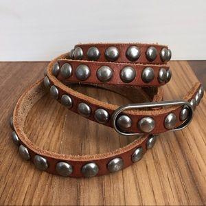 UO Leather Studded Skinny Belt by Ecoté